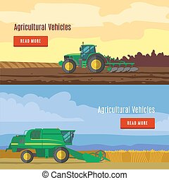 Agricultural Vehicles Flat Banners - Agricultural vehicles...