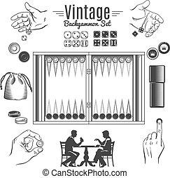 Backgammon Vintage Style Elements Set - Backgammon vintage...