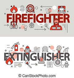 Fire Department Line Banner Set - Two horizontal fire...