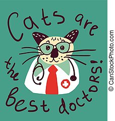 Cute cat fun doctor card and sign.