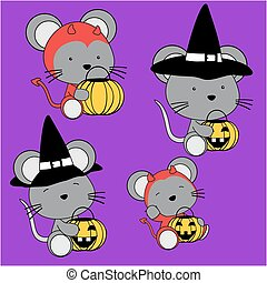 baby mouse halloween cartoon set - cute baby mouse halloween...