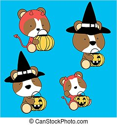 baby hamster halloween cartoon set - cute baby hamster...