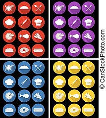 Food Icons Pack - Flat Icons Vector Set, Illustration