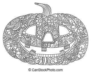 Pumpkin for Halloween coloring vector - Pumpkin for...