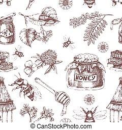 Honey Hand Drawn Seamless Pattern - Honey hand drawn...
