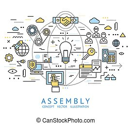 Assembly Line Art - Assembly line art with isolated colored...