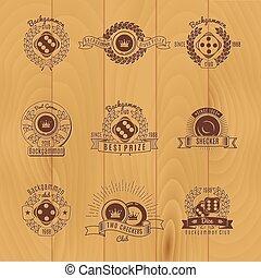 Backgammon Monochrome Emblems - Backgammon monochrome...