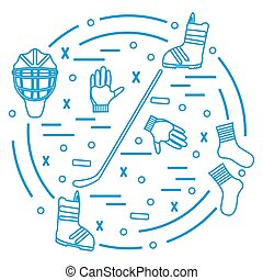 Vector illustration of various subjects for hockey and...