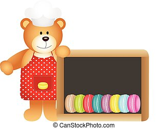 Cook teddy bear with macaroons