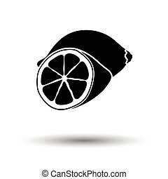 Lemon icon. White background with shadow design. Vector...