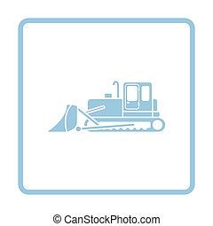 Icon of Construction bulldozer. Blue frame design. Vector...