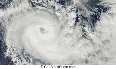Hurricane Storm, over the earth, satellite view. Elements of...