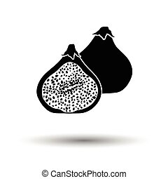 Fig fruit icon White background with shadow design Vector...