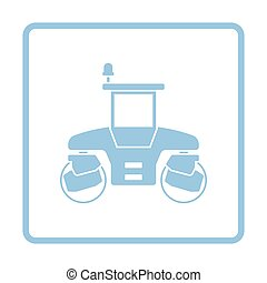 Icon of road roller. Blue frame design. Vector illustration.
