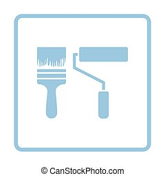 Icon of construction paint brushes. Blue frame design....