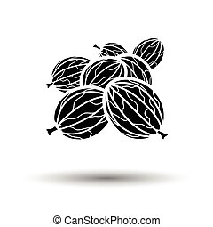 Gooseberry icon. White background with shadow design. Vector...