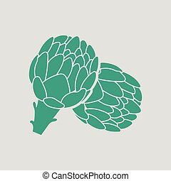 Artichoke icon. Gray background with green. Vector...