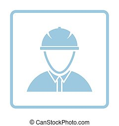Icon of construction worker head in helmet. Blue frame...