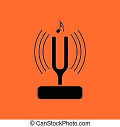 Tuning fork icon. Orange background with black. Vector...