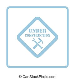 Icon of Under construction Blue frame design Vector...