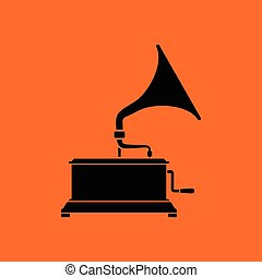 Gramophone icon Orange background with black Vector...