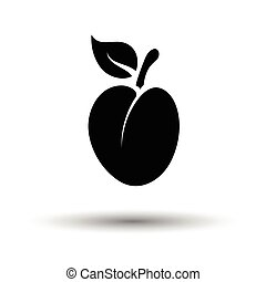 Plum icon. White background with shadow design. Vector...