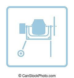 Icon of Concrete mixer. Blue frame design. Vector...