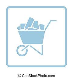 Icon of construction cart . Blue frame design. Vector...