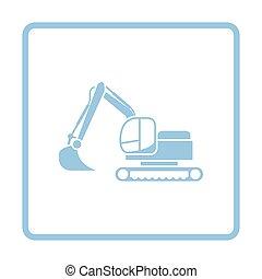 Icon of construction excavator Blue frame design Vector...