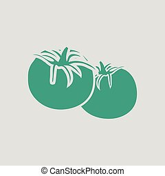 Tomatoes icon. Gray background with green. Vector...