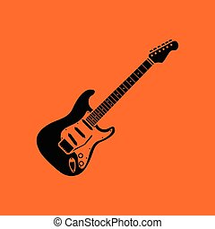 Electric guitar icon. Orange background with black. Vector...