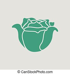 Cabbage icon. Gray background with green. Vector...