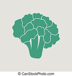 Cauliflower icon. Gray background with green. Vector...