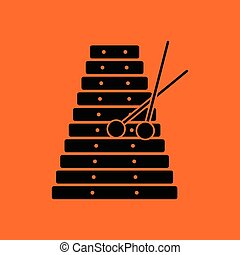 Xylophone icon. Orange background with black. Vector...