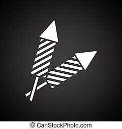 Party petard icon. Black background with white. Vector...