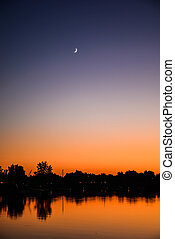 Crescent Moon Over Sunset
