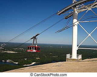 Cable Car - A photograph of a cable car in action