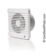 Bathroom fan - A white bathroom exhaust ventilation fan on...