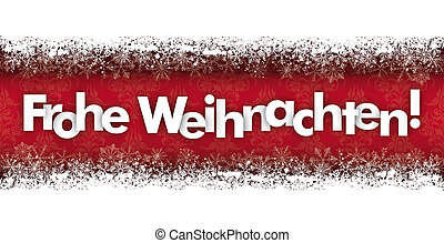 Frohe Weihnachten Double Snow Banner Wood Ornaments - German...