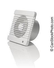 Bathroom Fan - A white bathroom exhaust ventilation fan on...