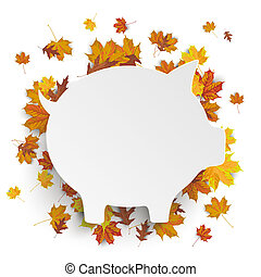 White Piggy Bank Autumn Foliage - White paper piggy bank...