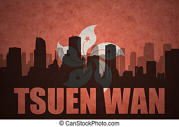 abstract silhouette of the city with text Tsuen Wan at the...