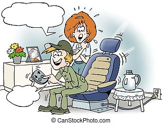 Cartoon illustration of a mechanic sitting in his car seat