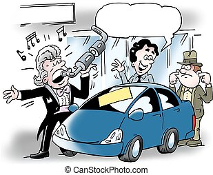 Cartoon illustration of a car salesman who sings into an...