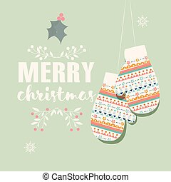 Merry Christmas postcard with mittens and decoration, vector...