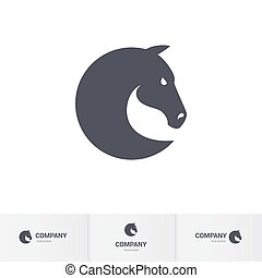 Horse head - Simple Dark Horse Head for Mascot Logo Template