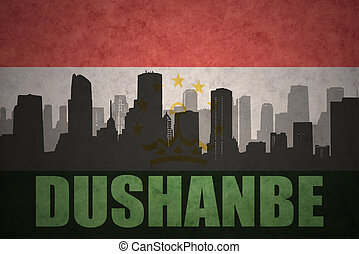 abstract silhouette of the city with text Dushanbe at the...