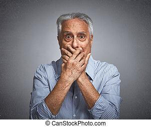Scared afraid senior man fear. - Scared afraid elderly man...