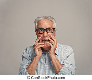 Scared afraid senior man fear. - Scared afraid elderly man...