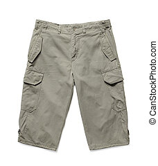 Shorts - Men's summer cargo shorts isolated on white with...